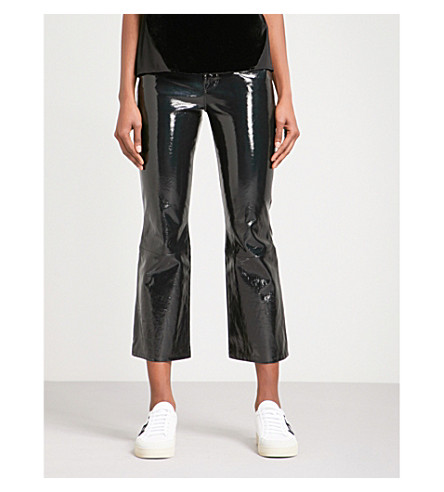 J BRAND Selena bootcut cropped mid-rise leather jeans (Patent+black