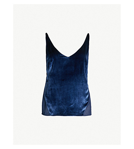 J BRAND FASHION Lucy chiffon-panelled velvet camisole top (Night out