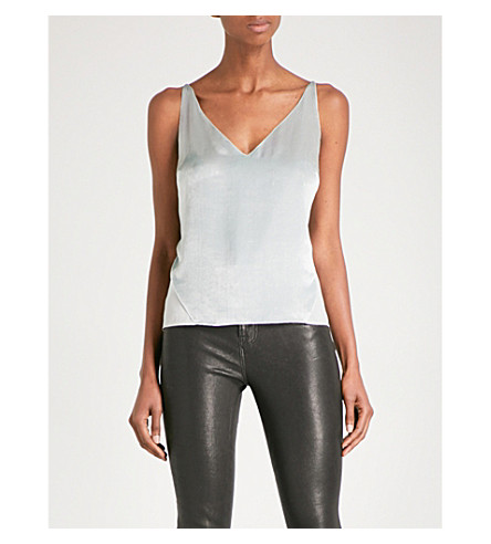 J BRAND FASHION Lucy velvet and chiffon camisole (Silver+spoon