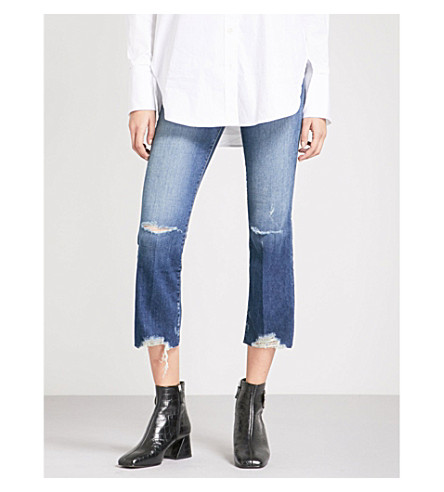 J BRAND Selena distressed cropped mid-rise jeans (Revoke+destruct