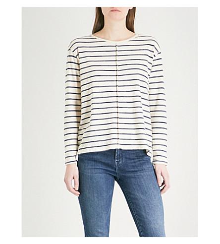J BRAND FASHION Striped cotton-blend long-sleeved T-shirt (Catalina+stripe