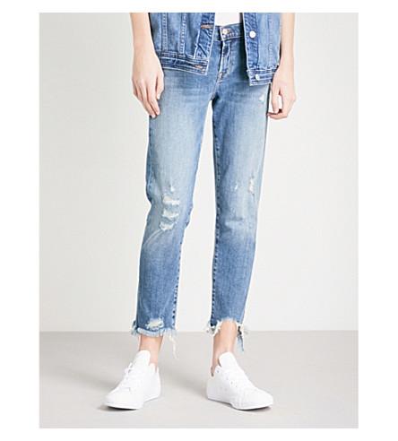 J BRAND Sadey distressed straight mid-rise jeans (Ardent