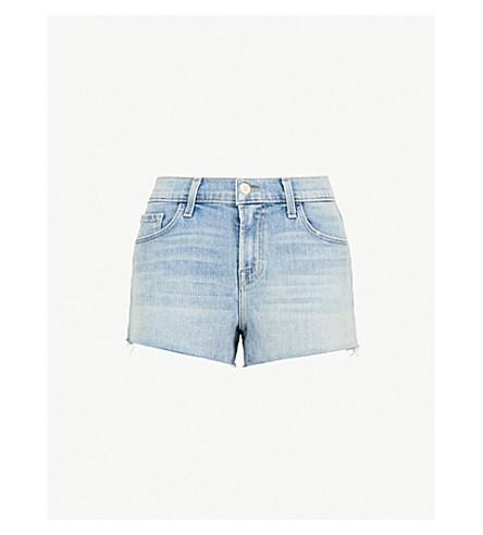 J BRAND Raw hem low-rise stretch-denim shorts (Surge+destruct