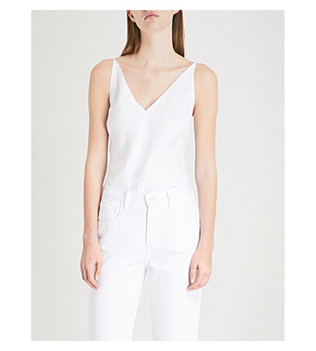 J BRAND FASHION Lucy V-neck linen top (White