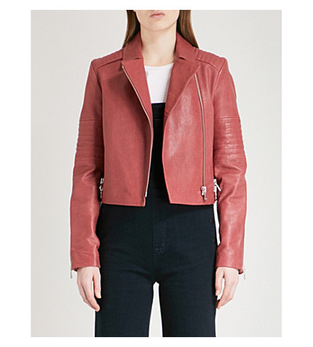 J BRAND Aiah leather biker jacket (Begonia
