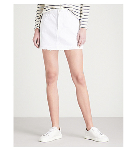 J BRAND Bonny mid-rise denim mini skirt (White