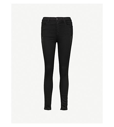 J BRAND Alana slim-fit skinny high-rise jeans (Black+ladder+lace