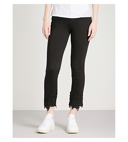 J BRAND Ruby lace-trim straight high-rise jeans (Black+lace