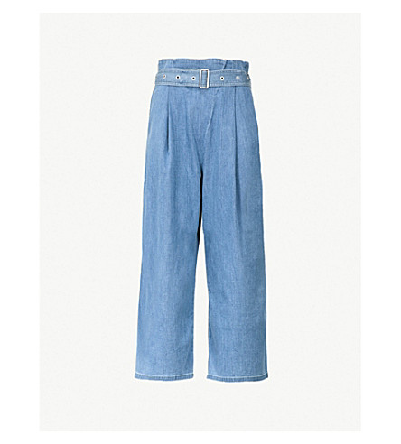 J BRAND FASHION Via belted wide-leg stretch-cotton trousers (Heavenly