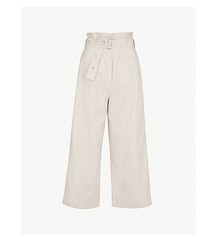 J BRAND FASHION Wide cropped cotton trousers (Driftwood