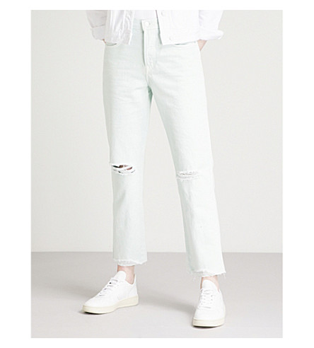 J BRAND Wynne regular-fit high-rise jeans (Spearmint+destruct