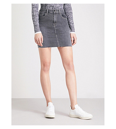 J BRAND Lyla mid-rise denim mini skirt (Obscura