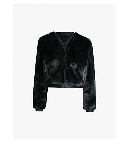 J BRAND FASHION Ashbey faux-fur and satin bomber jacket (Black