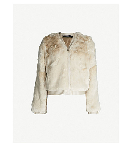 J BRAND FASHION Ashbey faux-fur and satin bomber jacket (Champagne