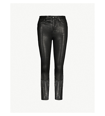 J BRAND Ruby cigarette high-rise leather pants (Black laser lace