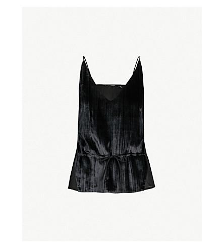 J BRAND FASHION Lucy velvet-panelled silk-crepe camisole (Black