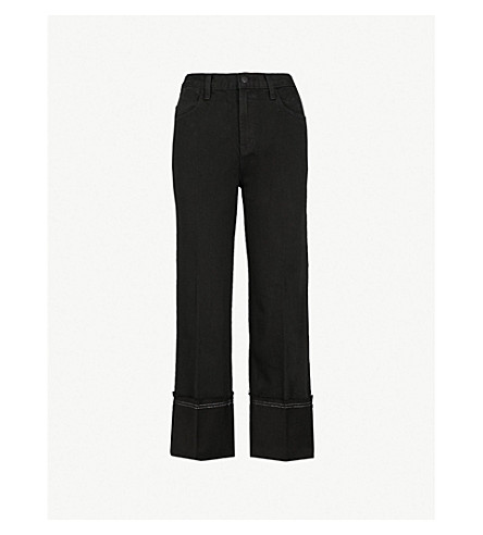 J BRAND Joan cropped high-rise wide-leg jeans (Hematitie