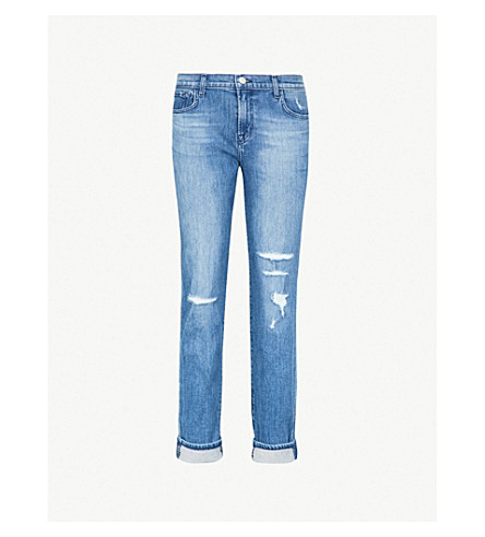 J BRAND Johnny mid-rise ripped straight-leg jeans (Naive destruct