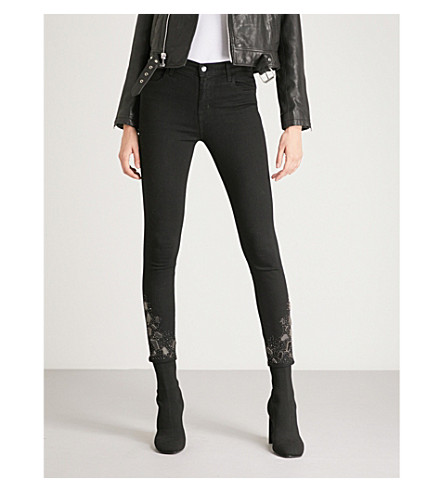 J BRAND Alana embellished skinny high-rise jeans (Sparkly+night