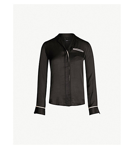 J BRAND FASHION Kaiya contrast-piped satin shirt (Black/mood light