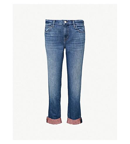 J BRAND 约翰尼闪光袖口男友风版型直中腰牛仔裤 (玫瑰 + 金色 + 池