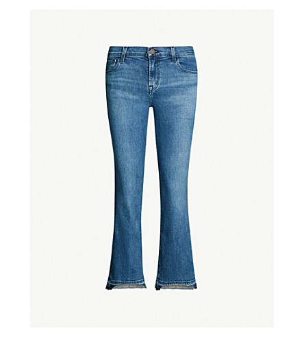 J BRAND Selena mid-rise cropped boot-cut jeans (Earthy