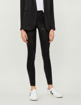 Maria skinny high-rise faux-leather jeans