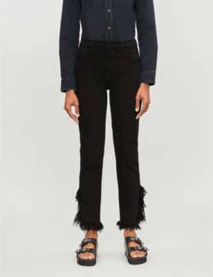 Ruby frayed-hem high-rise jeans