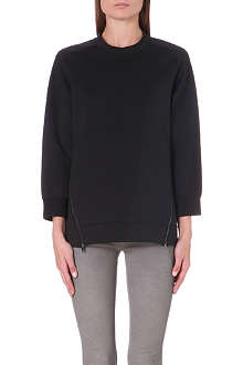 J BRAND FASHION Kerry zip-detail satin-jersey sweatshirt