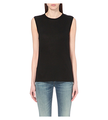 J BRAND FASHION Sleeveless jersey top (Black