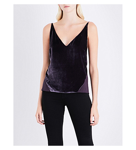 J BRAND FASHION Lucy sheer-back velvet top (Aubergine