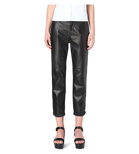 J BRAND Paulette boyfriend-fit leather trousers (Black