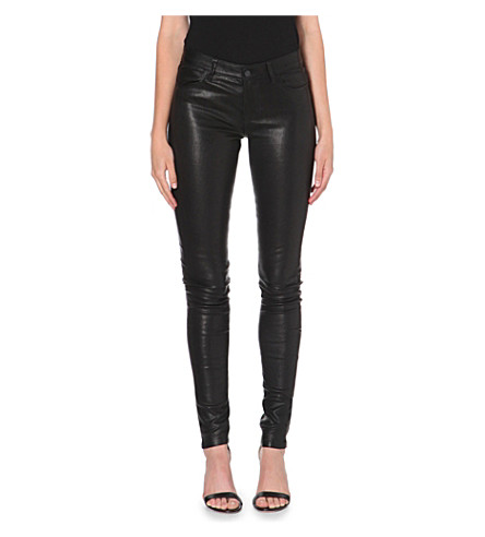 J BRAND 624 Stacked skinny leather jeans (Noir
