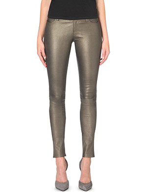 J BRAND Stacked skinny mid-rise leather jeans