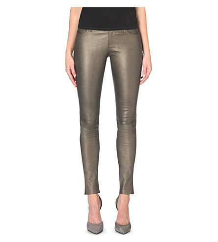 J BRAND Stacked skinny mid-rise leather jeans (Gold rush