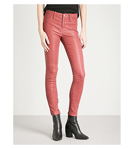 J BRAND Super-skinny mid-rise leather jeans (Begonia