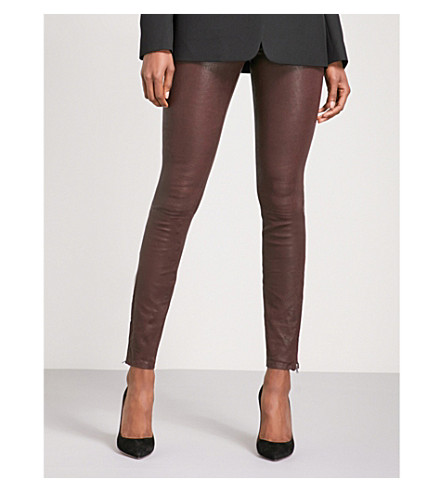 J BRAND Super-skinny mid-rise leather jeans (Botany