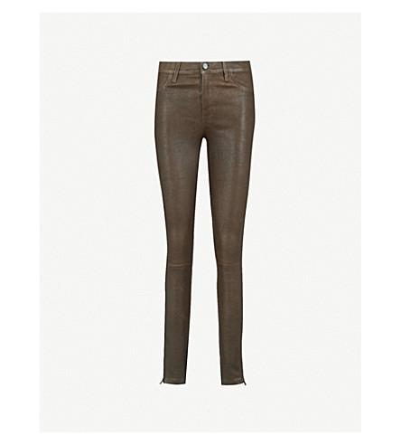 J BRAND Super-skinny mid-rise leather jeans (Dark+brown+sugar