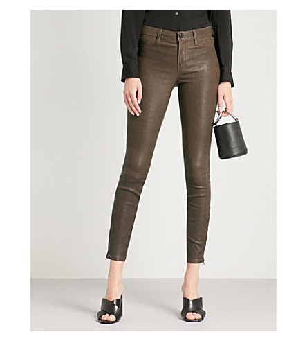J BRAND Super-skinny mid-rise leather jeans (Dark+brown+sugar