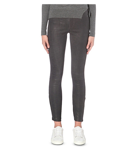 J BRAND Super-skinny mid-rise leather jeans (Grey