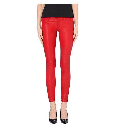 J BRAND Super-skinny mid-rise leather jeans (Rebel red