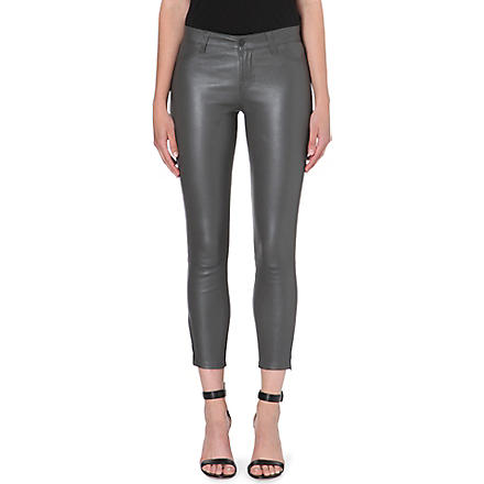 J BRAND L8035 Leather Capri skinny cropped jeans (Smoketone