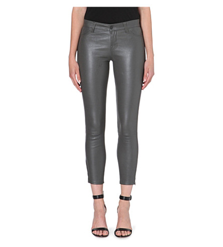 J BRAND L8035 Leather Capri skinny cropped jeans (Smoketone