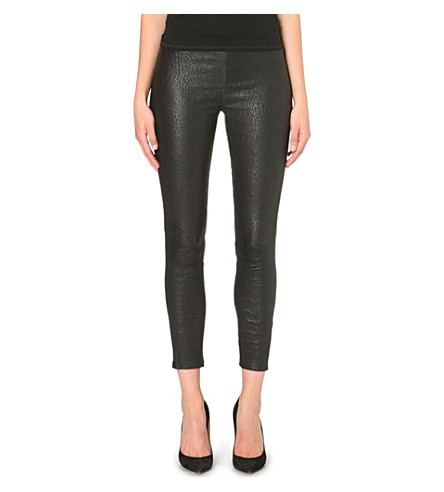 J BRAND Cropped leather leggings (Reptile