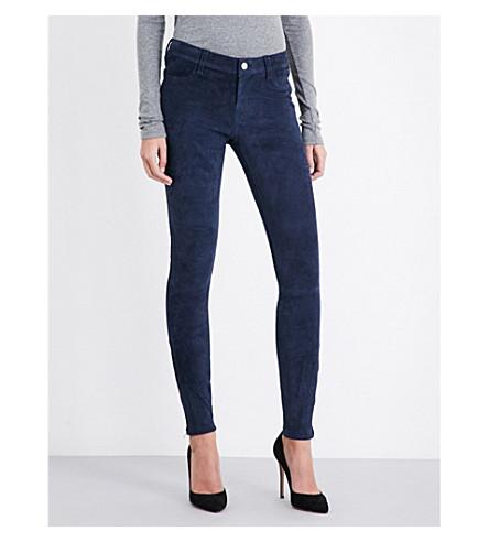 J BRAND N8001 super-skinny suede jeans (Black+iris