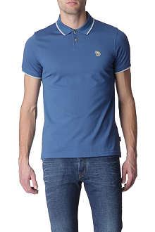 PAUL SMITH JEANS Zebra appliqué mercerised-cotton polo shirt