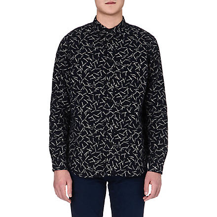 RED EAR Sticks print shirt (Indigo
