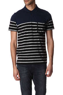 PAUL SMITH JEANS Striped-panel polo shirt