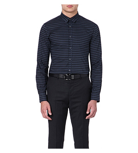 PS BY PAUL SMITH Triangle-print slim-fit shirt (Grey