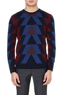 PS BY PAUL SMITH Stagered intarsia knitted jumper